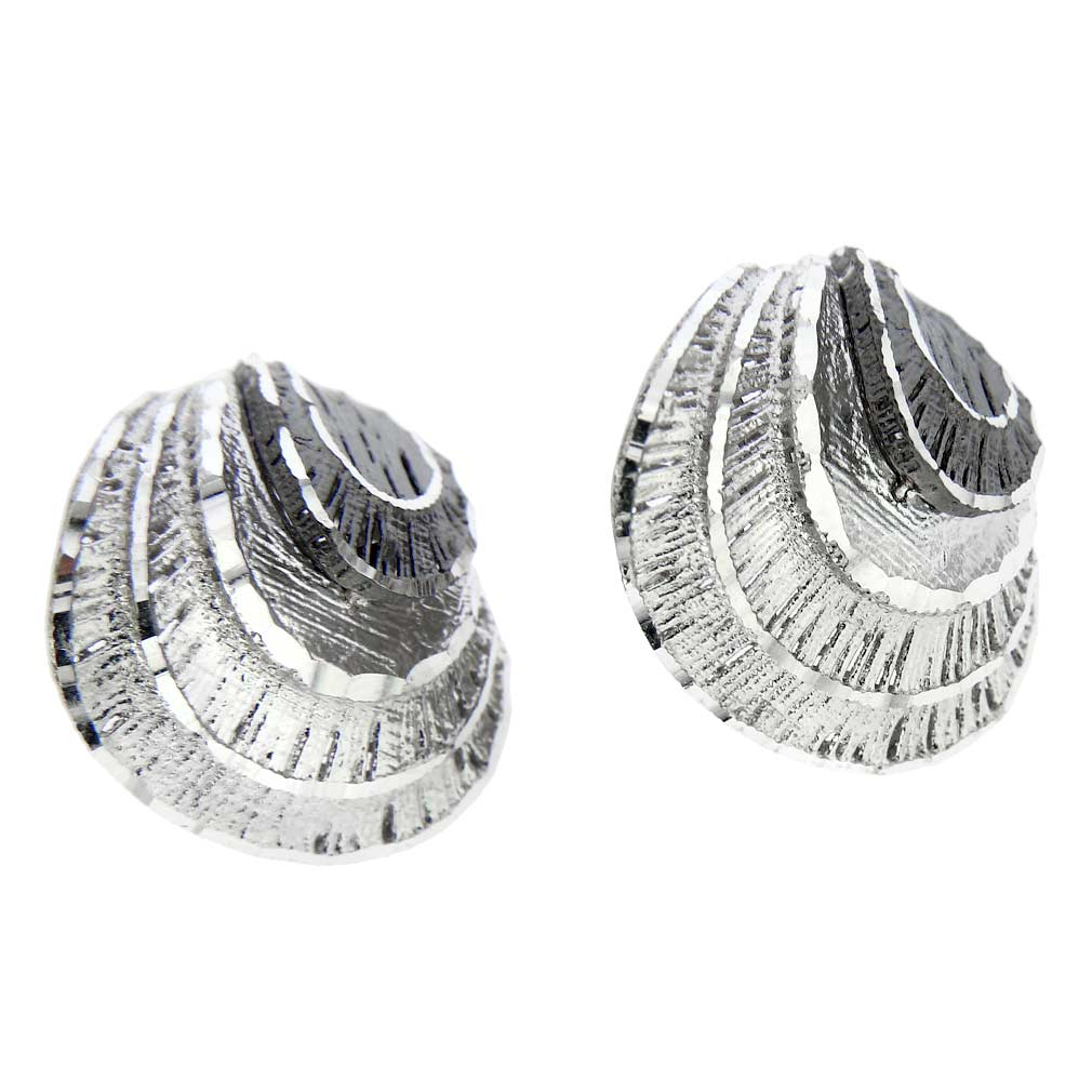 Fancy Fan Sterling Silver Earrings