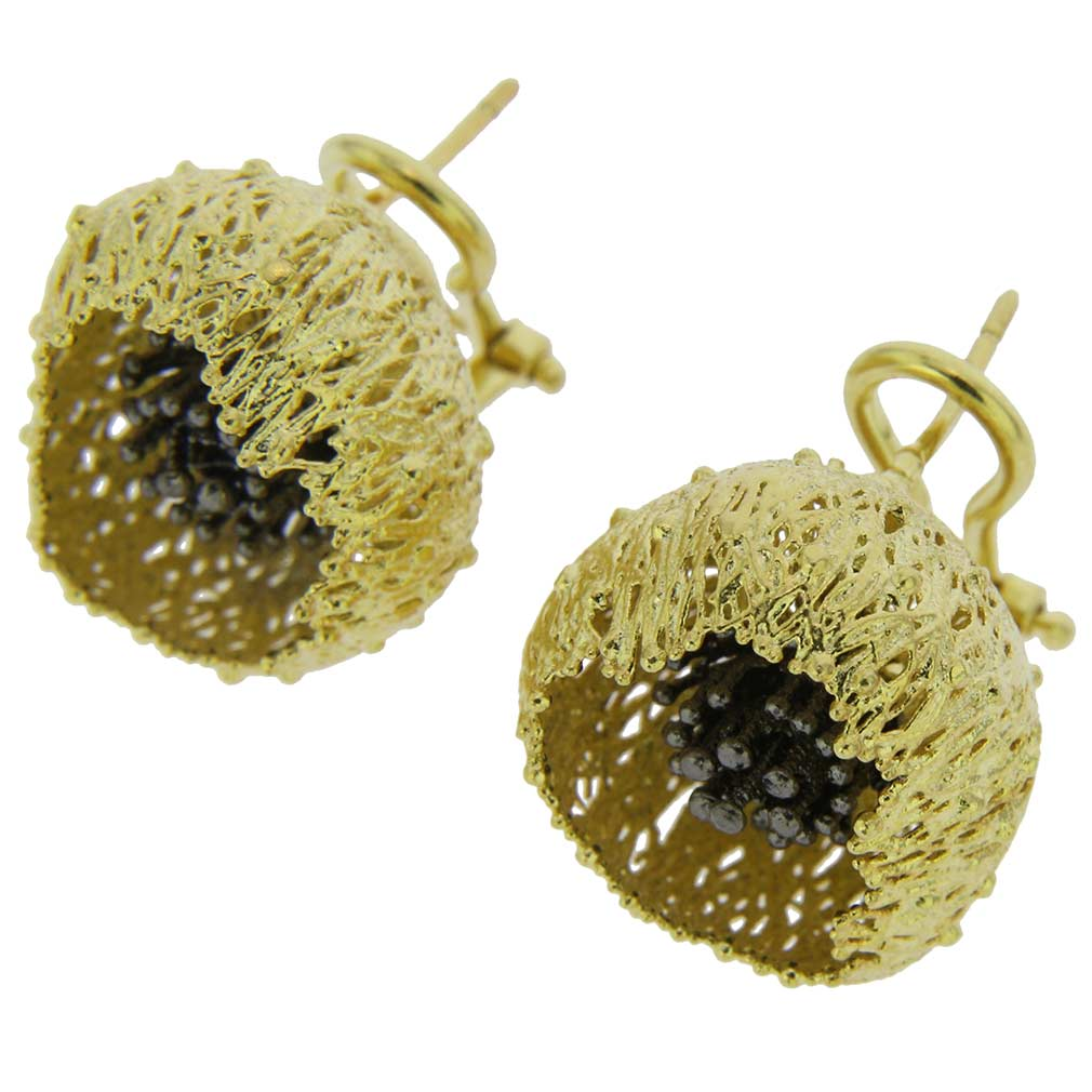 Poppy Flower Sterling Silver Gold-Plated Earrings