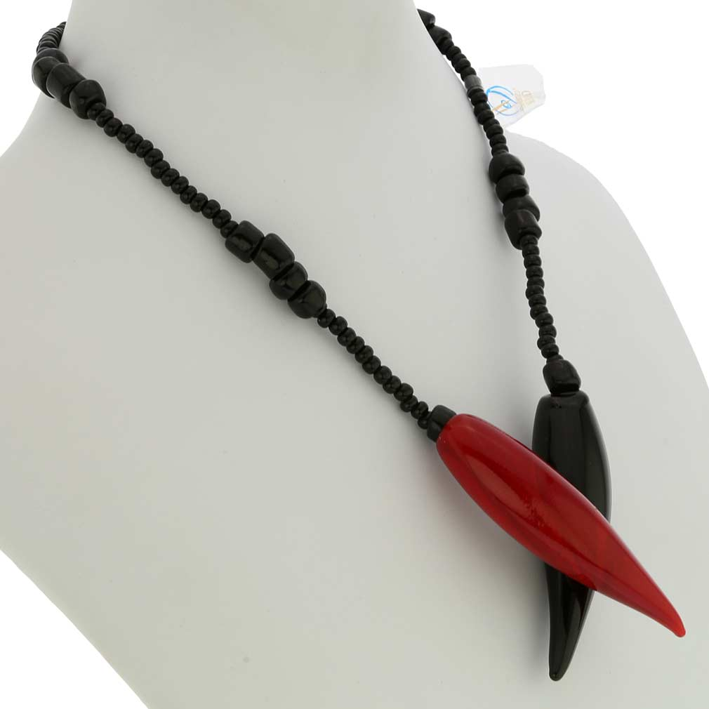 Cornicello Murano Glass Necklace - Red and Black