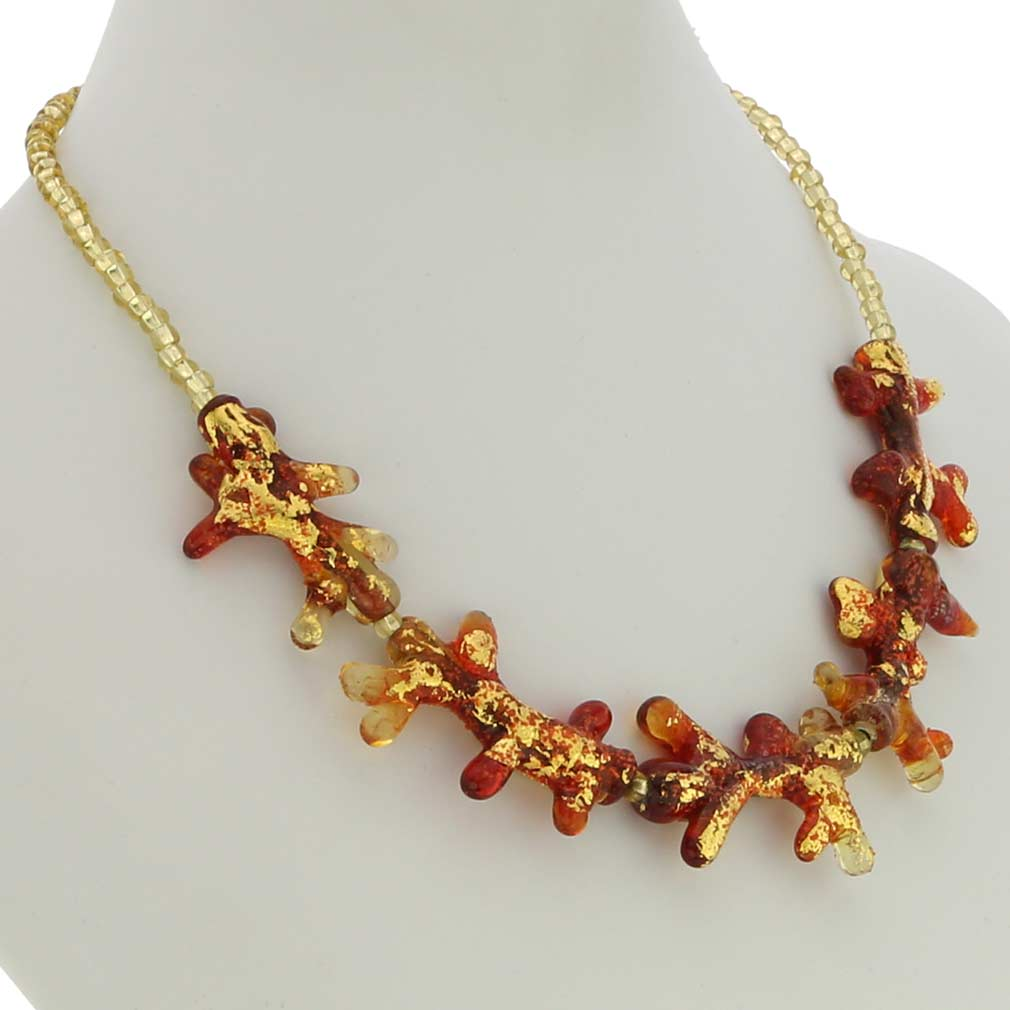 Murano Glass Coral Necklace