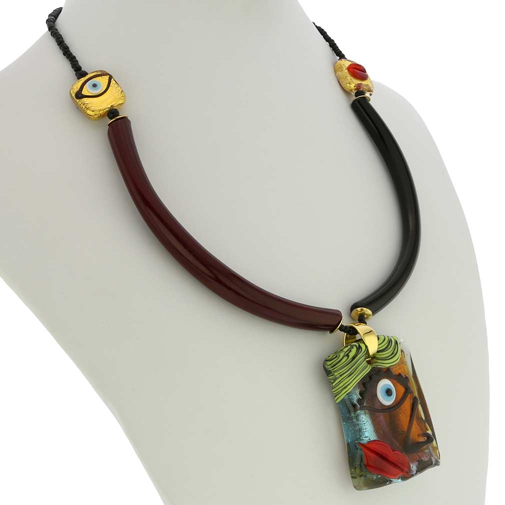 Picasso Face Murano Necklace