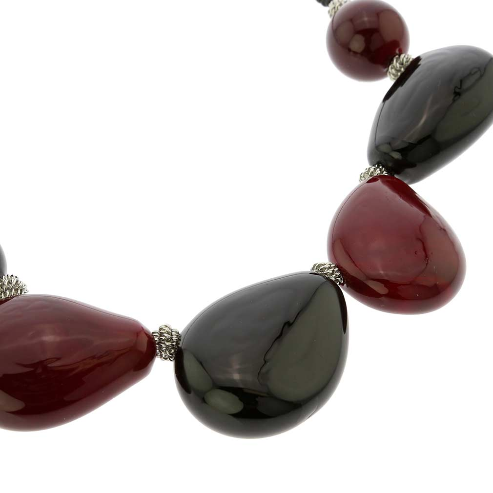 Vesuvio Murano Glass Necklace - Red and Black