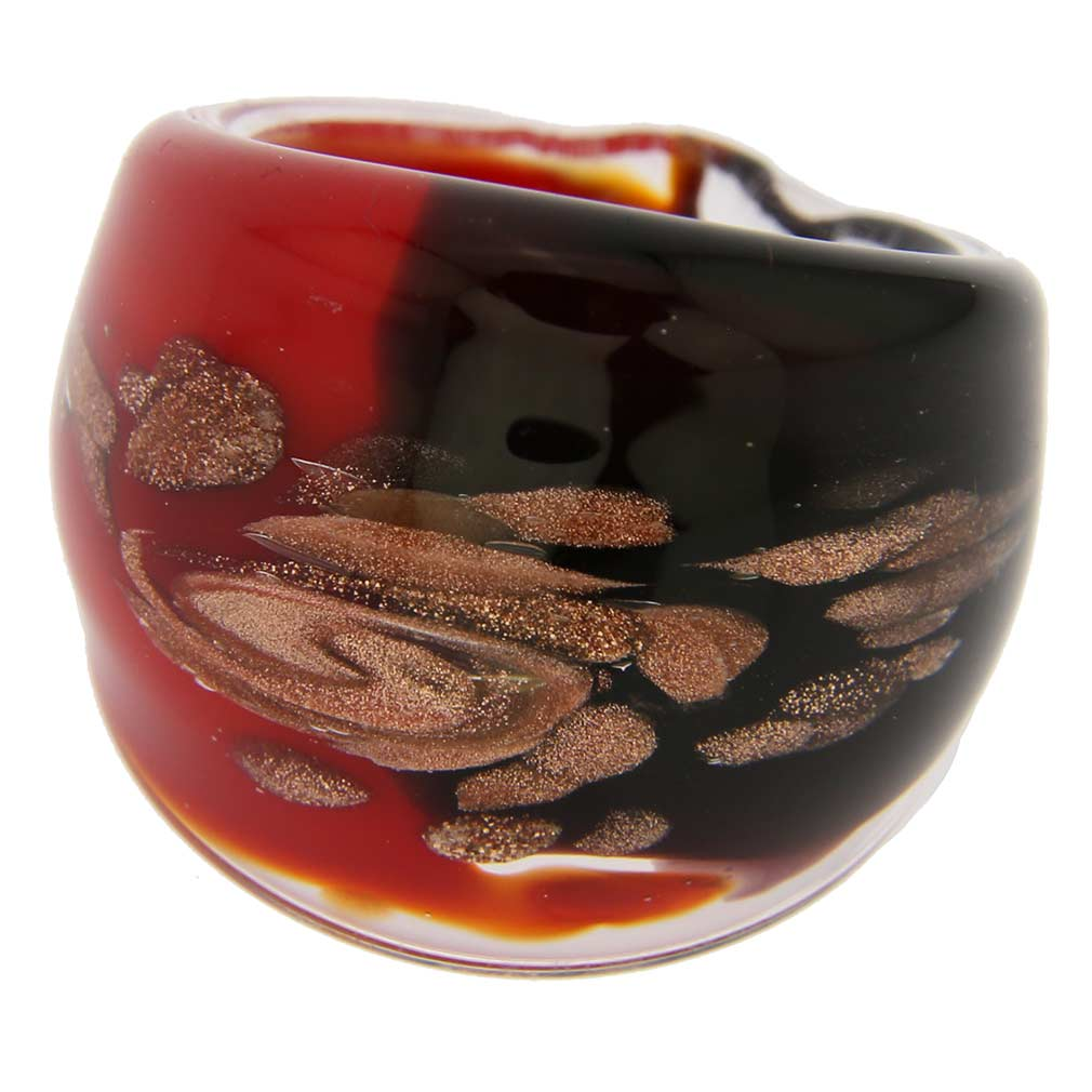 Murano Ring In Domed Design - Red and Black