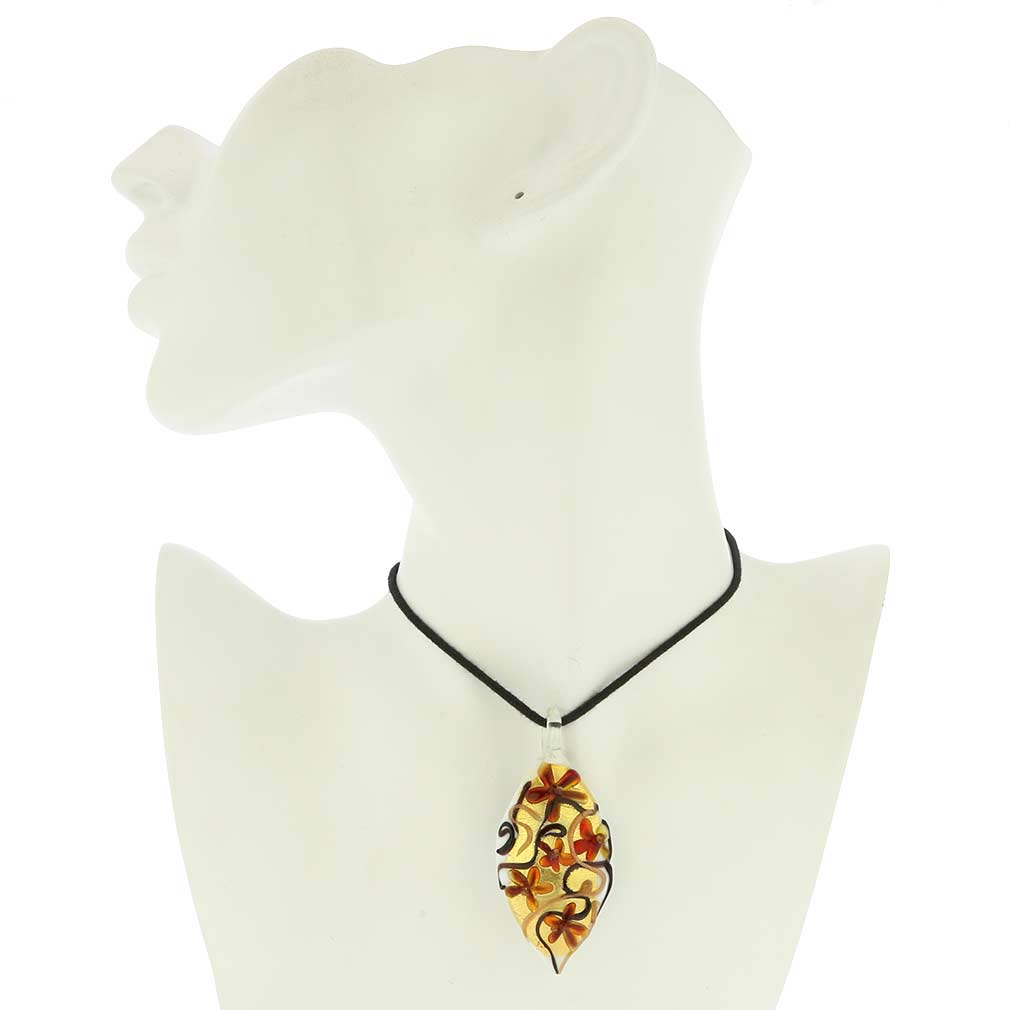 Fiori Murano Leaf Pendant