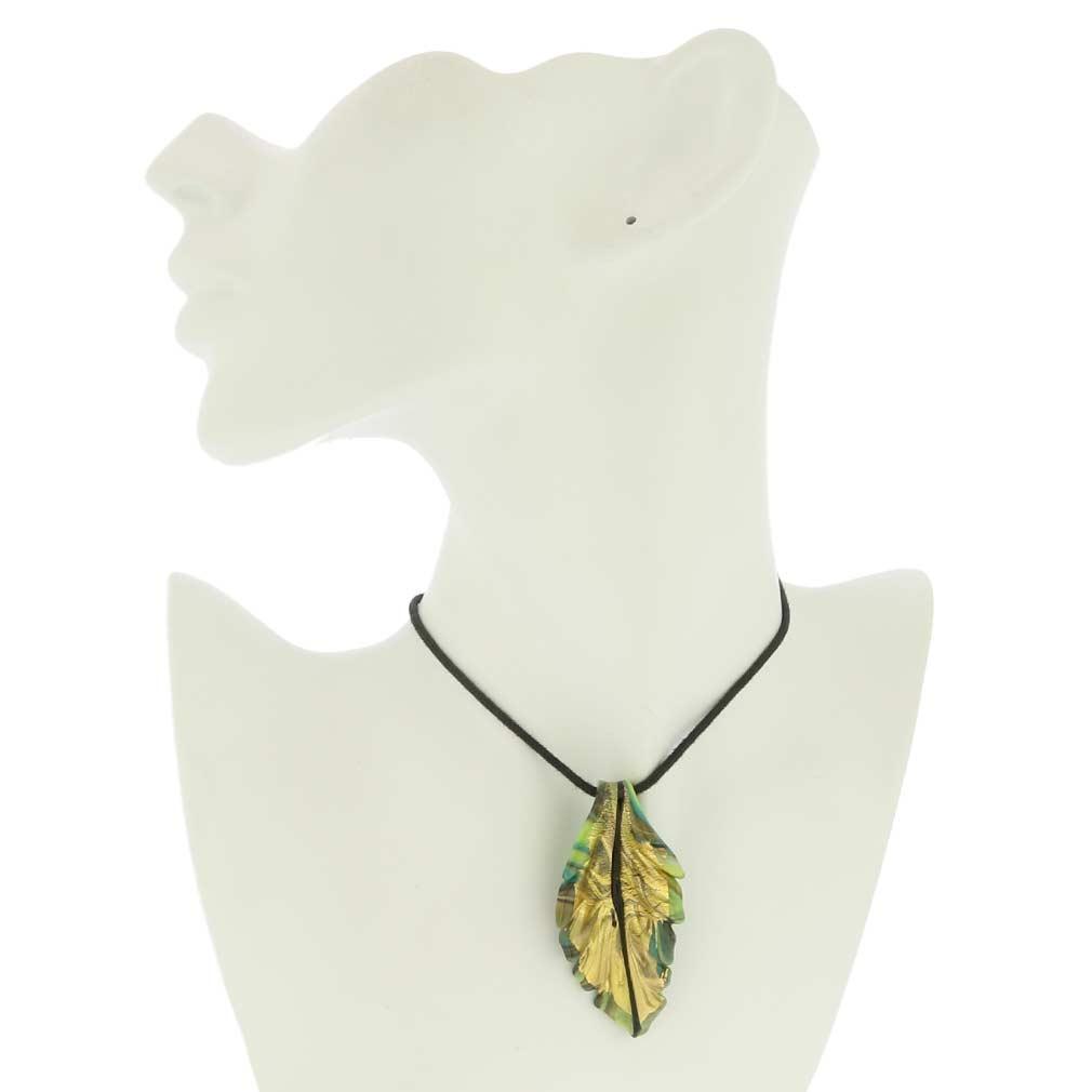 Chalcedony Murano Leaf Pendant