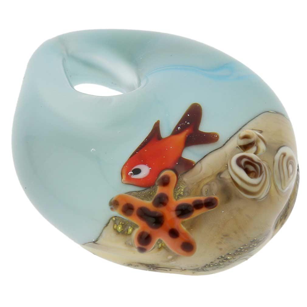 Ocean Life Teardrop Murano Pendant