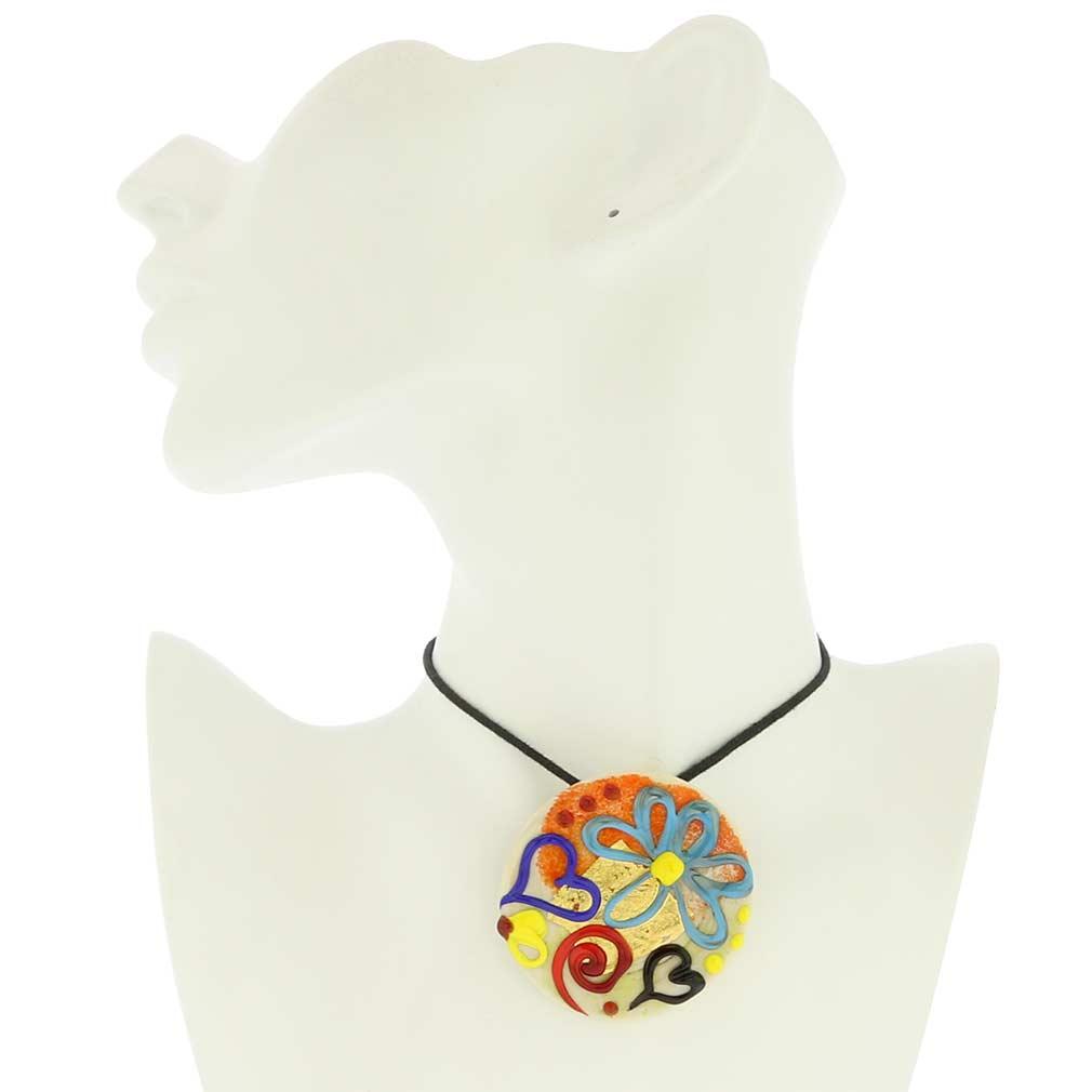Spring Flowers Round Murano Pendant