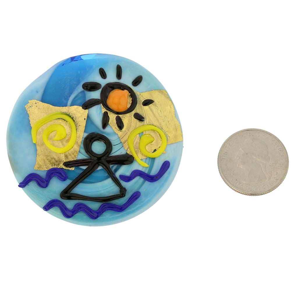 Sea and Sun Round Murano Glass Pendant