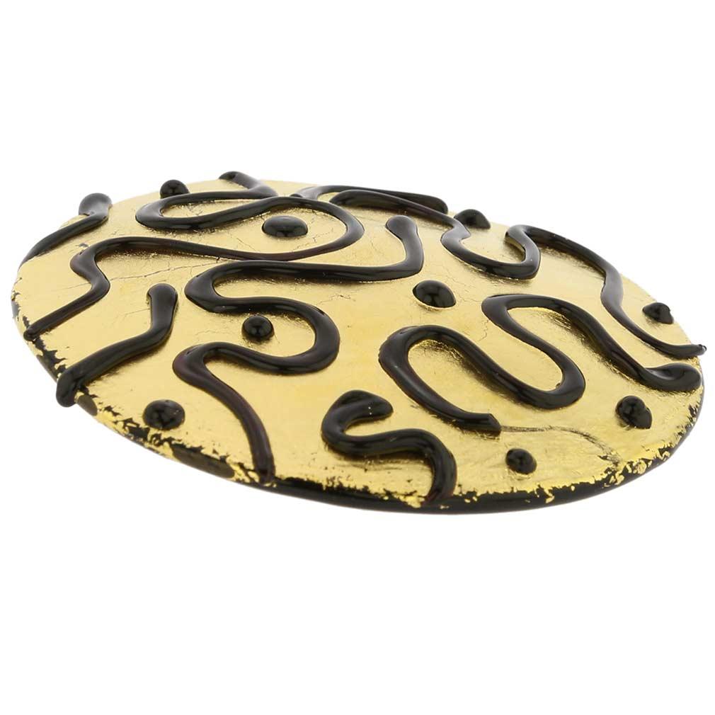 Golden Treasure Round Murano Pendant