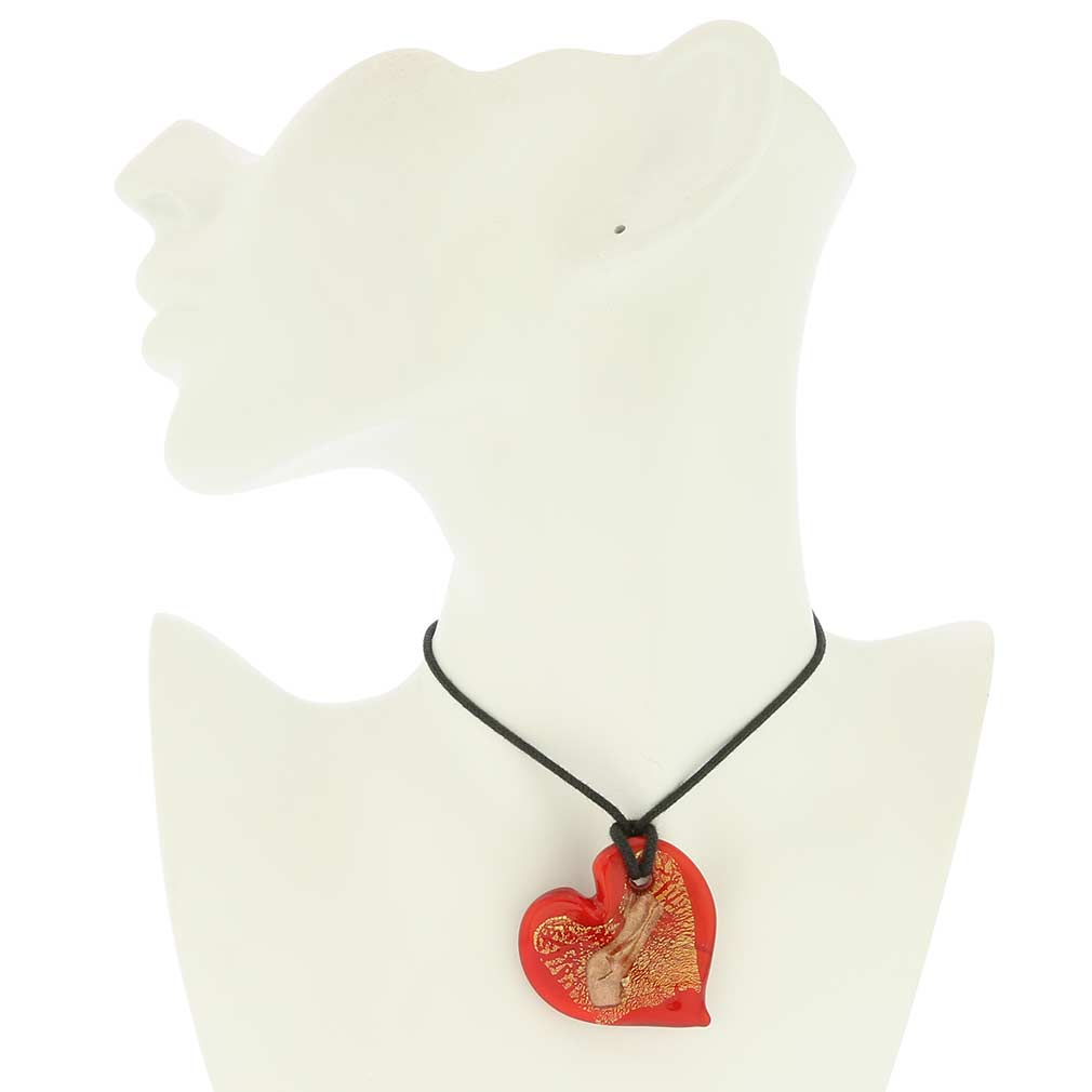 Tender Heart Pendant - Red and Gold