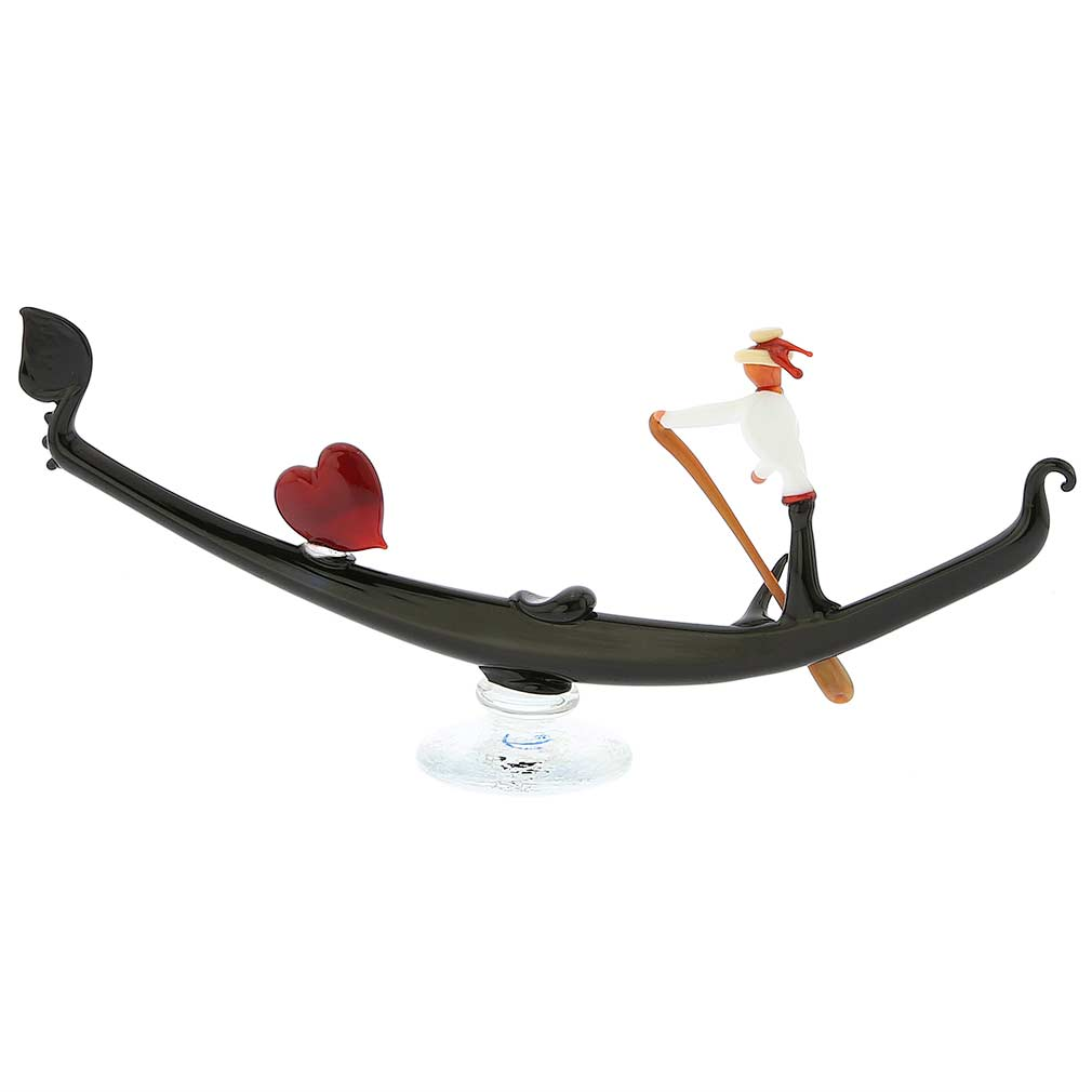Murano Glass Venetian Gondola With Gondolier - Large