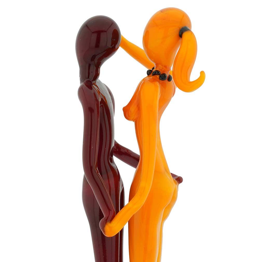 Murano Glass Medium Lovers Statue - Red and Orange