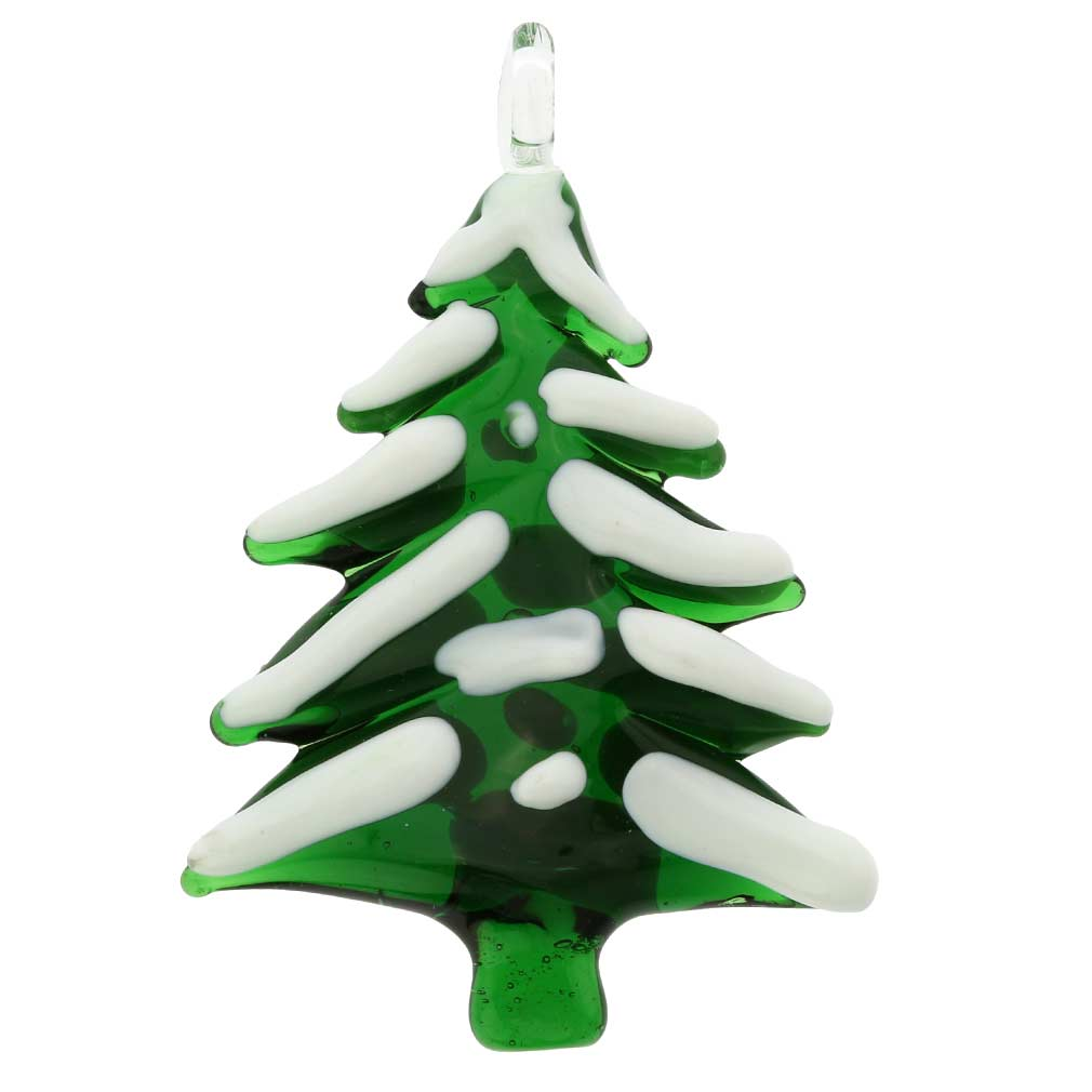 Murano Glass Snow-Covered Christmas Tree Ornament