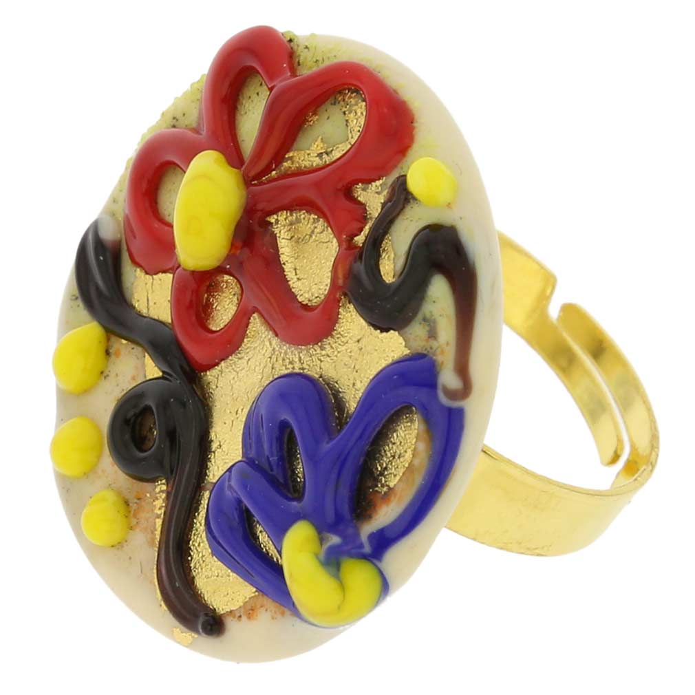 Spring Flowers Adjustable Murano Ring