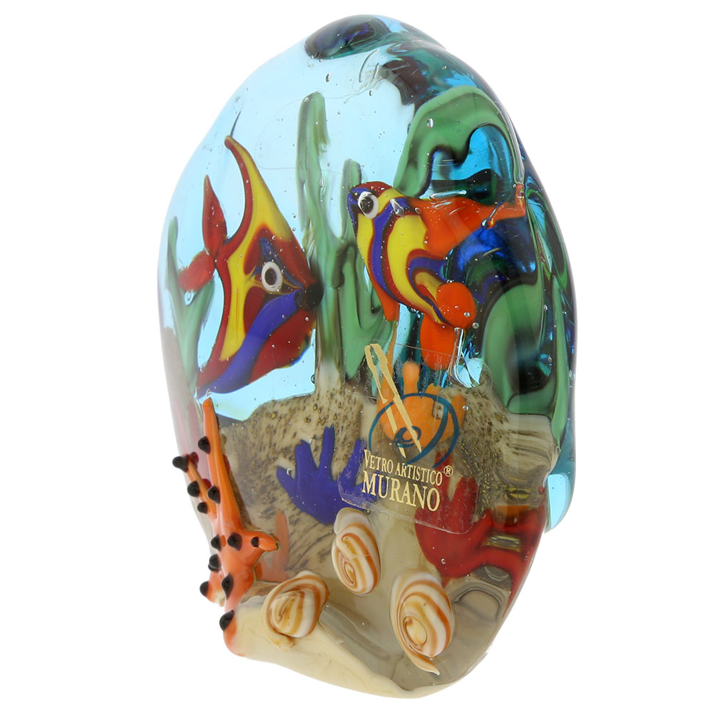Murano Glass Sea Floor Aquarium Paperweight Sculpture