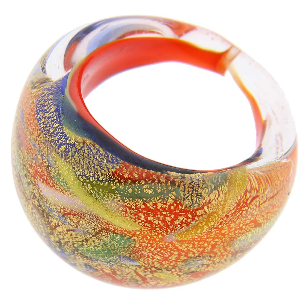 Avventurina Dancing Fire Ring In Domed Design