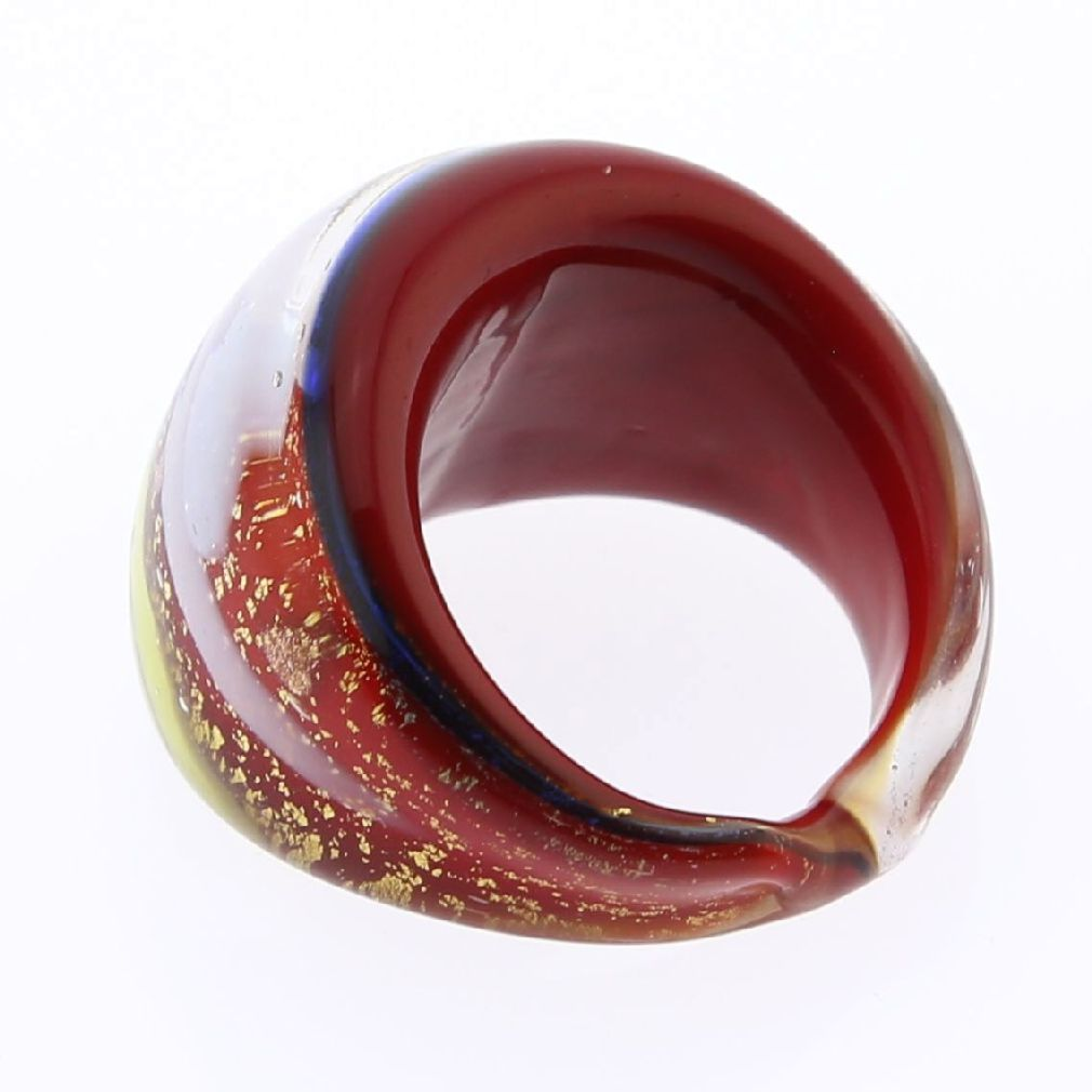Avventurina Sparkling Red Ring In Domed Design