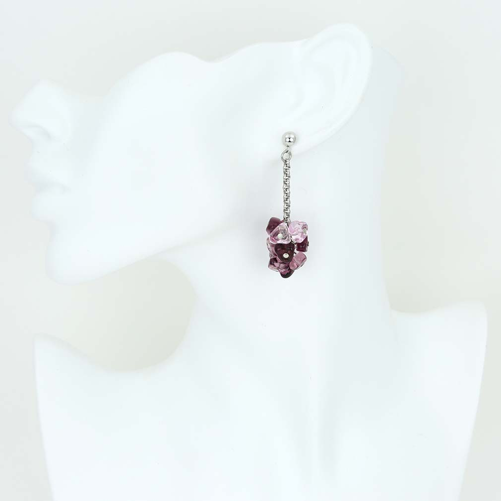 Preziosa Murano Glass Earrings - Amethyst