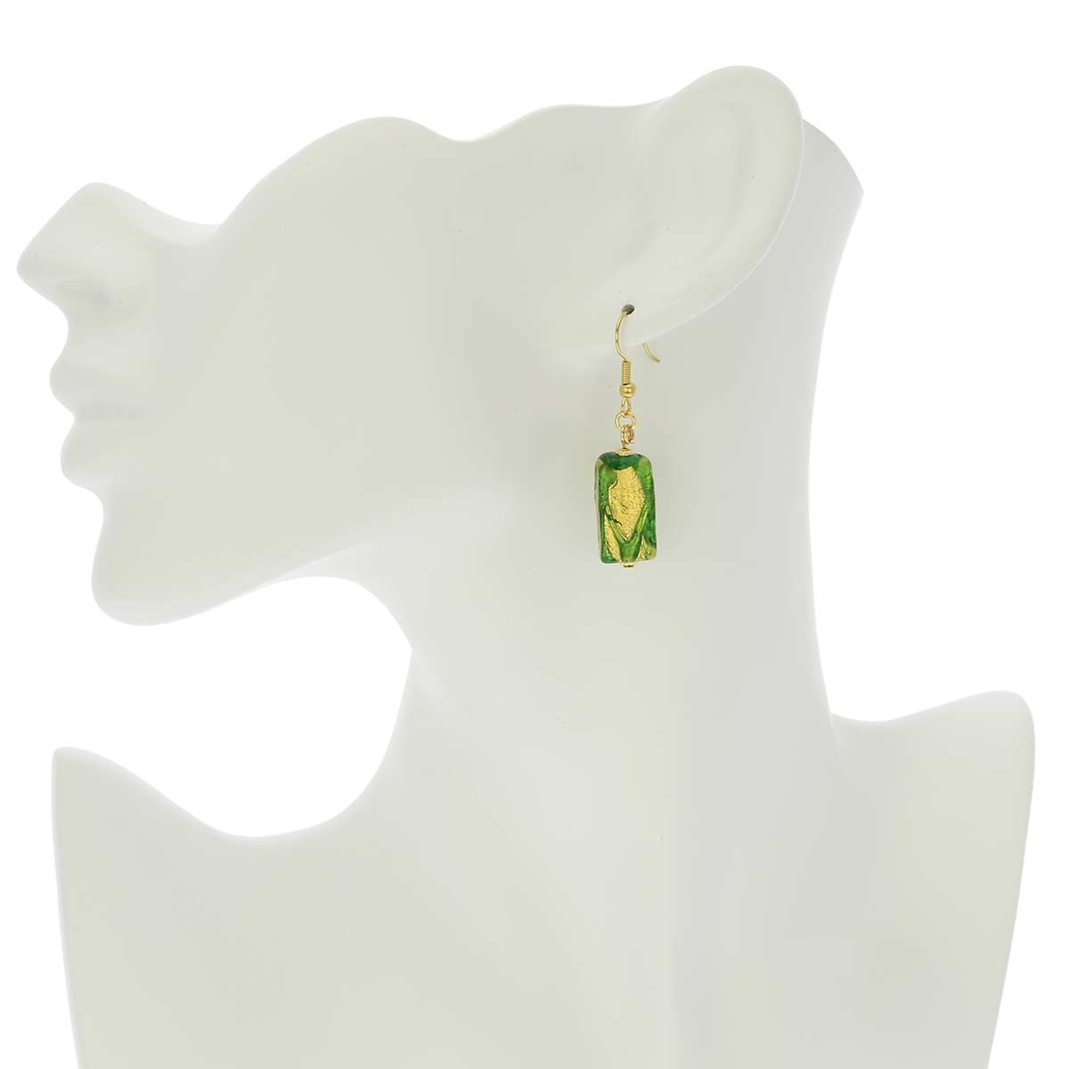 Royal Green Block Earrings