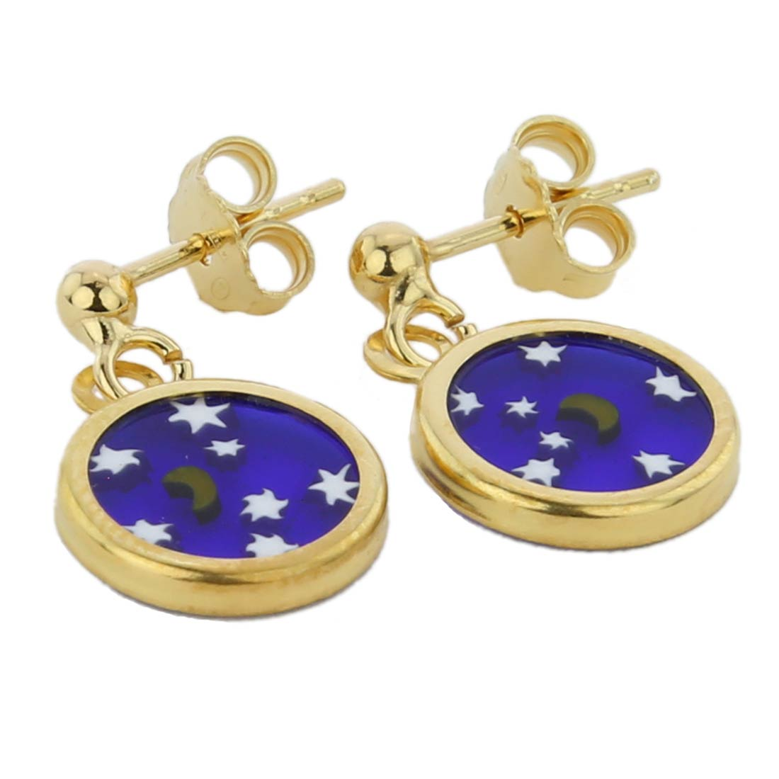 "Millefiori Earrings in Gold-Plated Frame ""Starry Night\"""