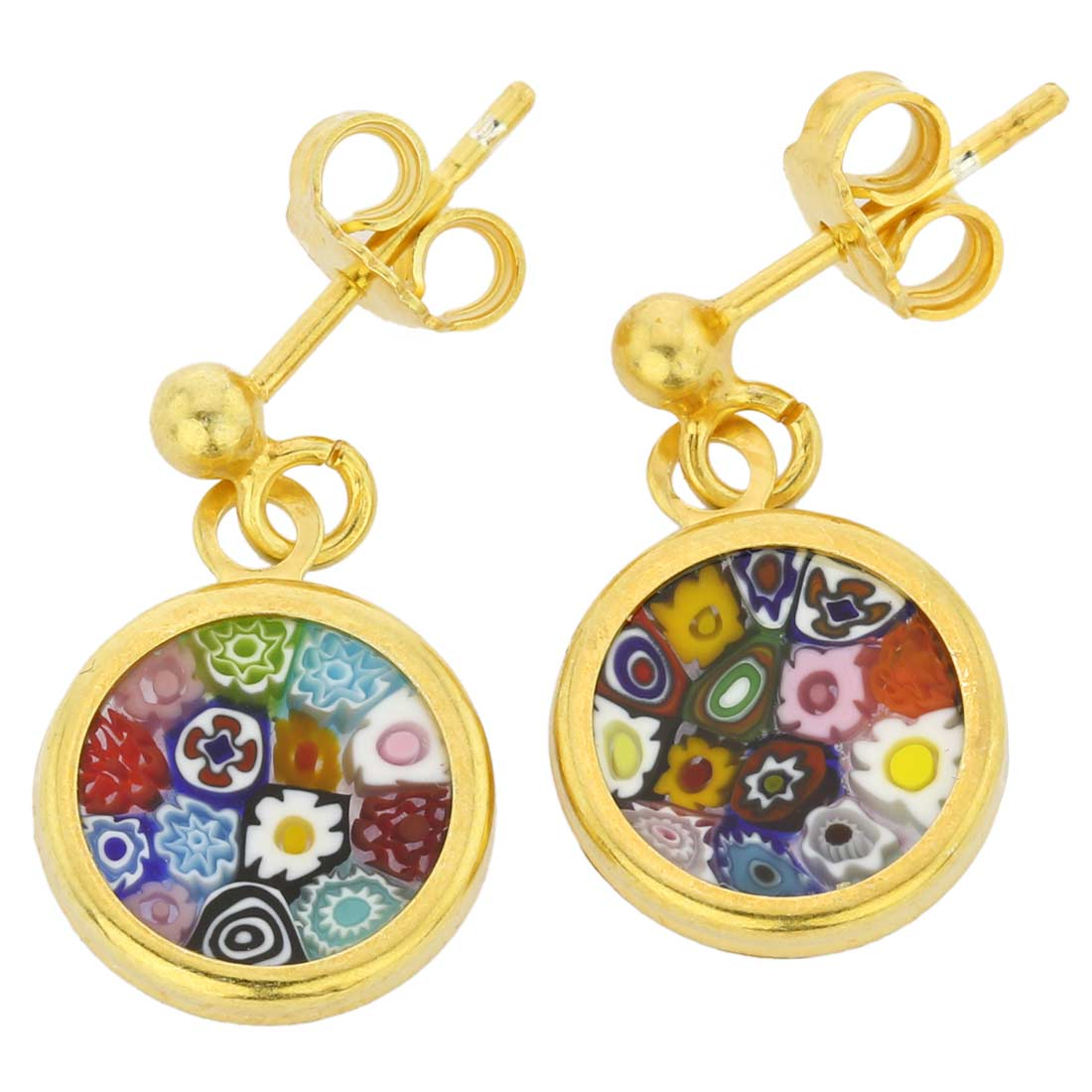 "Millefiori Earrings in Gold-Plated Frame ""Multicolor\"""