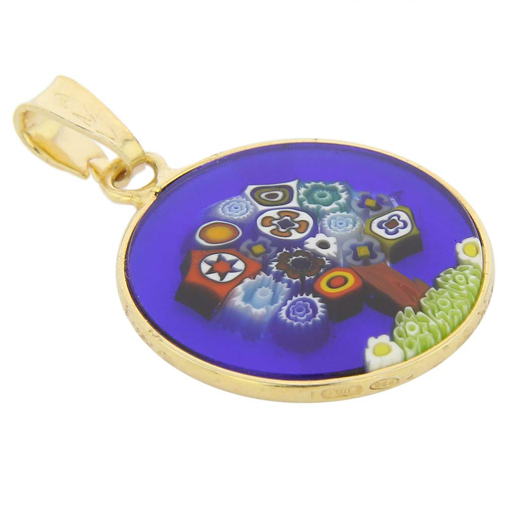 "Small Millefiori Pendant ""Tree Of Life\"" in Gold-Plated Frame 18mm"