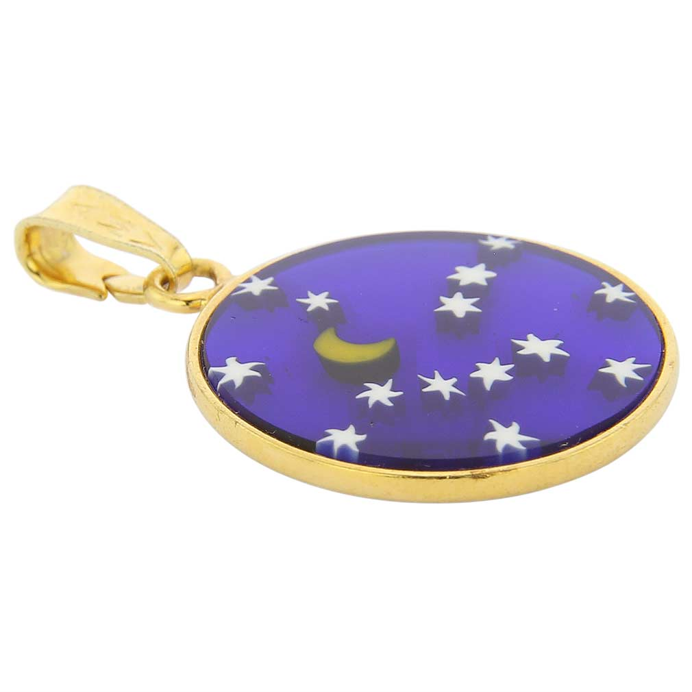 "Small Millefiori Pendant ""Starry Night\"" in Gold-Plated Frame 18mm"