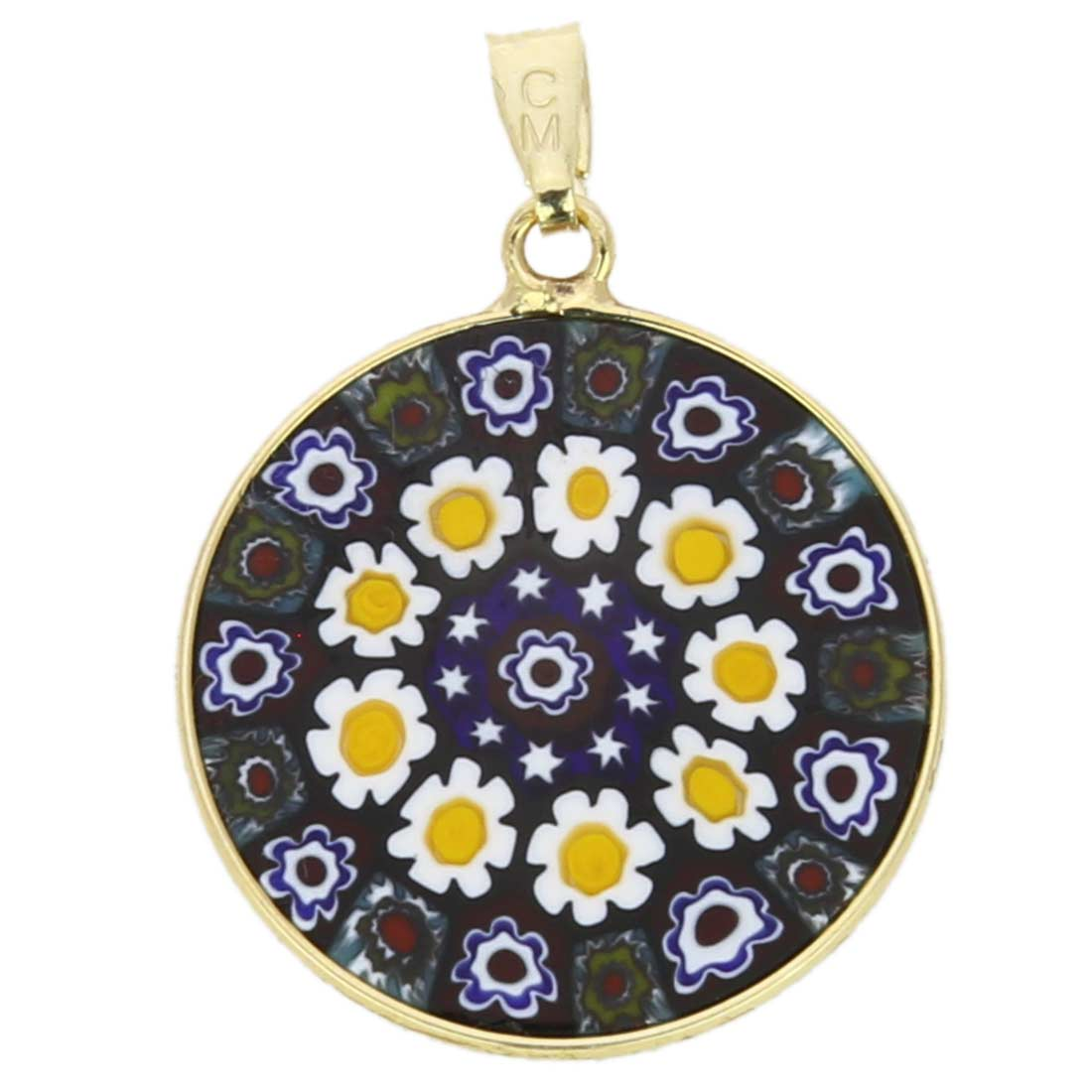 Medium Millefiori Pendant in Gold-Plated Frame 23mm
