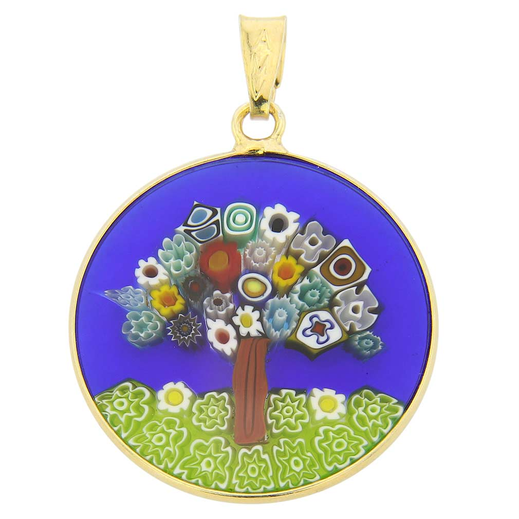 "Medium Millefiori Pendant ""Tree of Life\"" in Gold-Plated Frame 23"