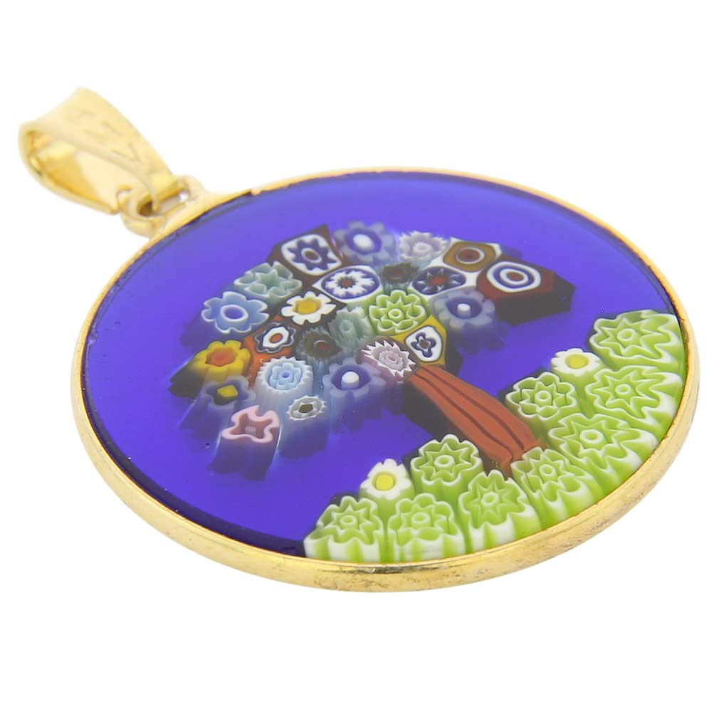 "Medium Millefiori Pendant ""Tree Of Life\"" in Gold-Plated Frame 23mm"
