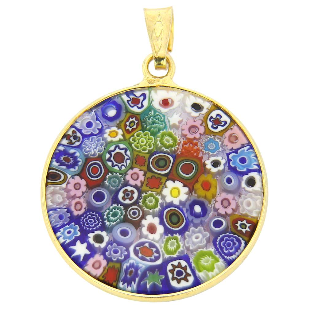 "Medium Millefiori Pendant ""Multicolor\"" in Gold-Plated Frame 23mm"