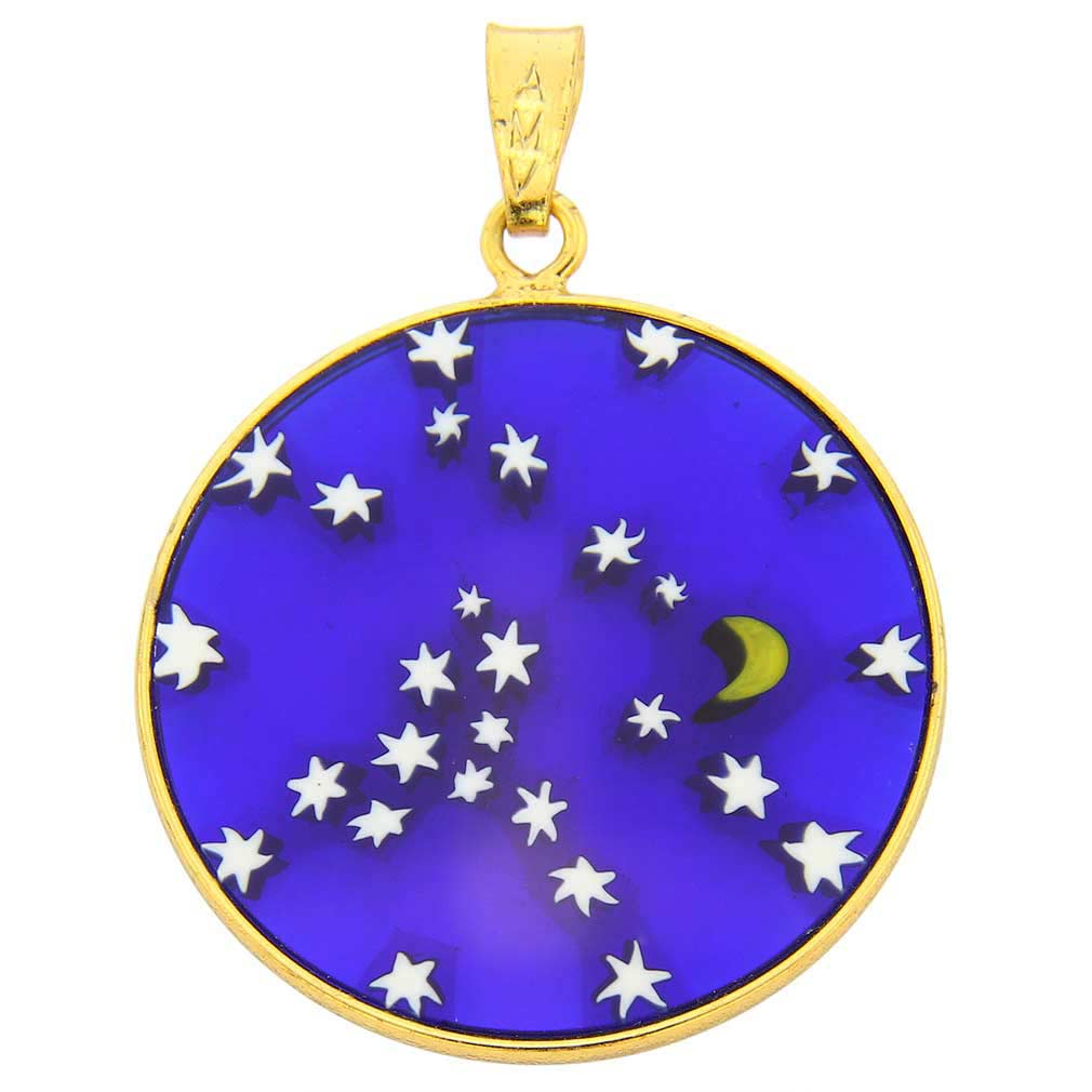"Medium Millefiori Pendant ""Starry Night\"" in Gold-Plated Frame 26mm"