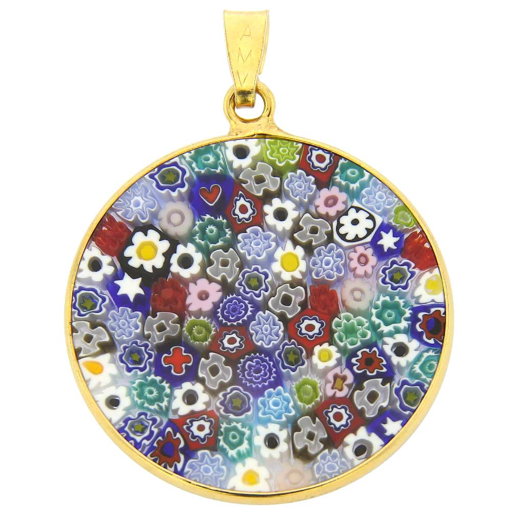 "Medium Millefiori Pendant ""Multicolor\"" in Gold-Plated Frame 26mm"