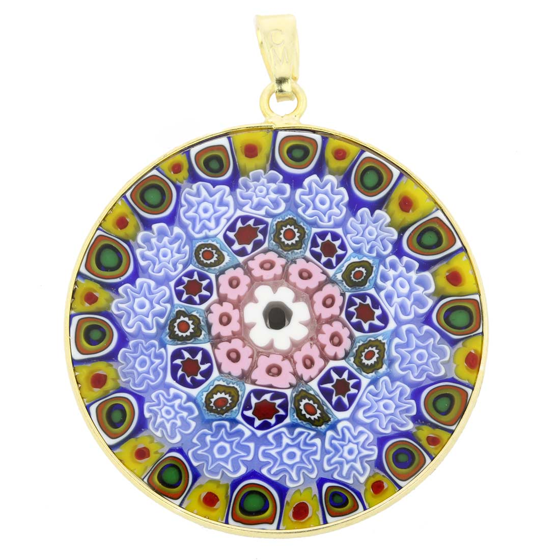 Large Millefiori Pendant in Gold-Plated Frame 32mm