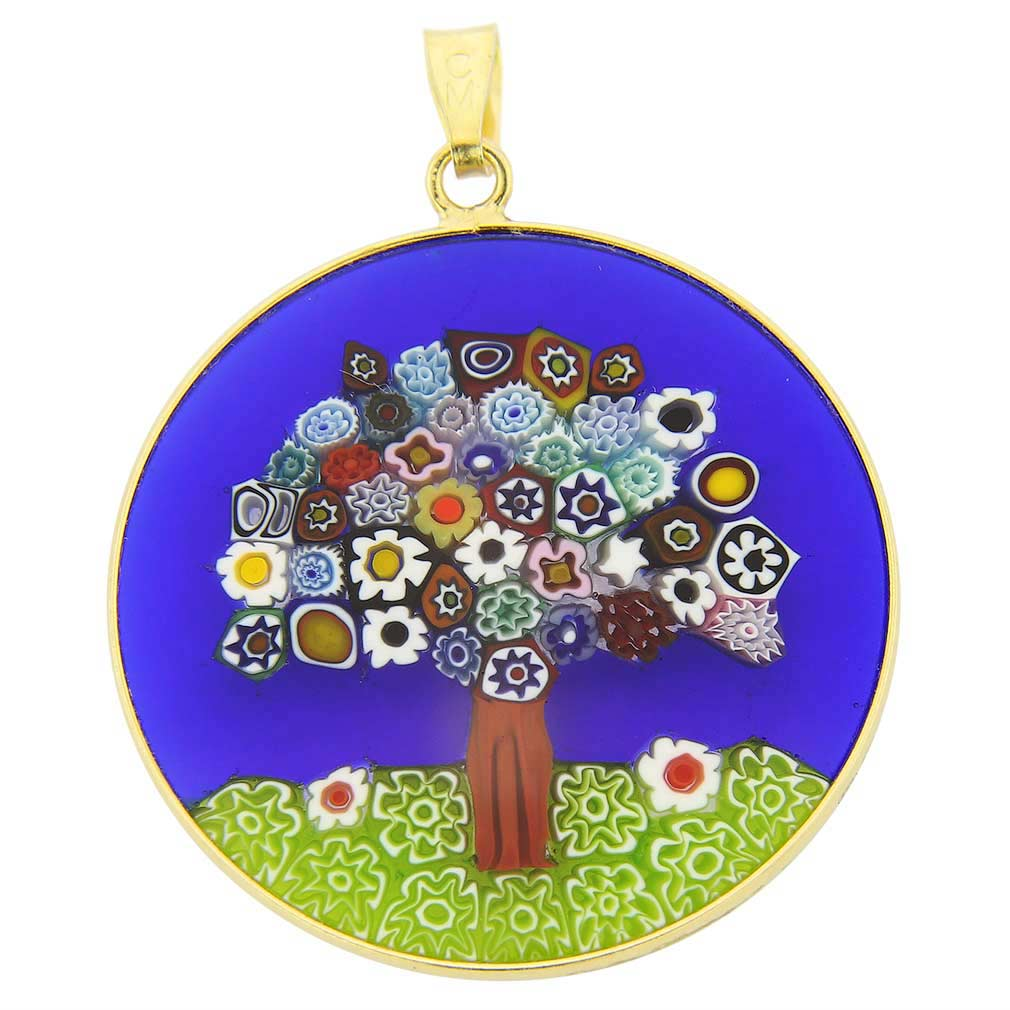"Large Millefiori Pendant ""Tree Of Life\"" in Gold-Plated Frame 32mm"