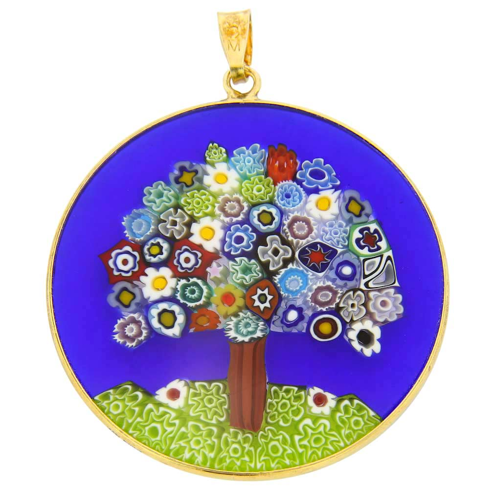 "Large Millefiori Pendant ""Tree of Life"" in Gold-Plated Frame 36m"