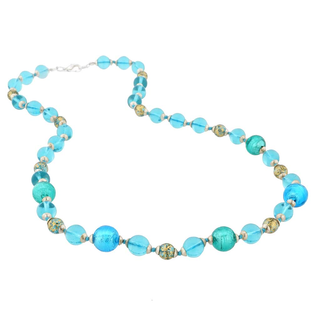 Antique Venetian Beads Murano Glass Necklace - Blue