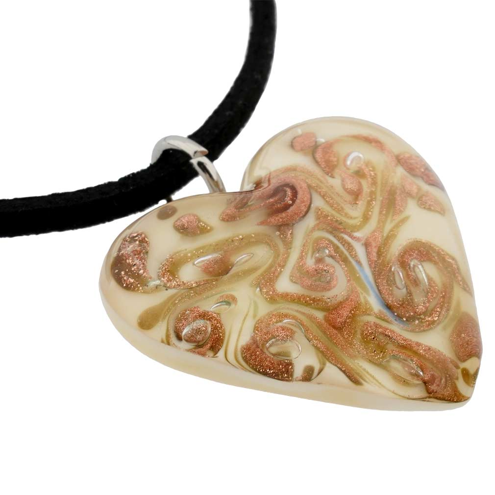Cognac Heart Necklace
