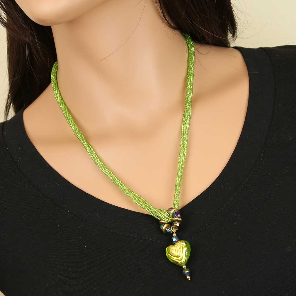 Lime Green Heart Necklace