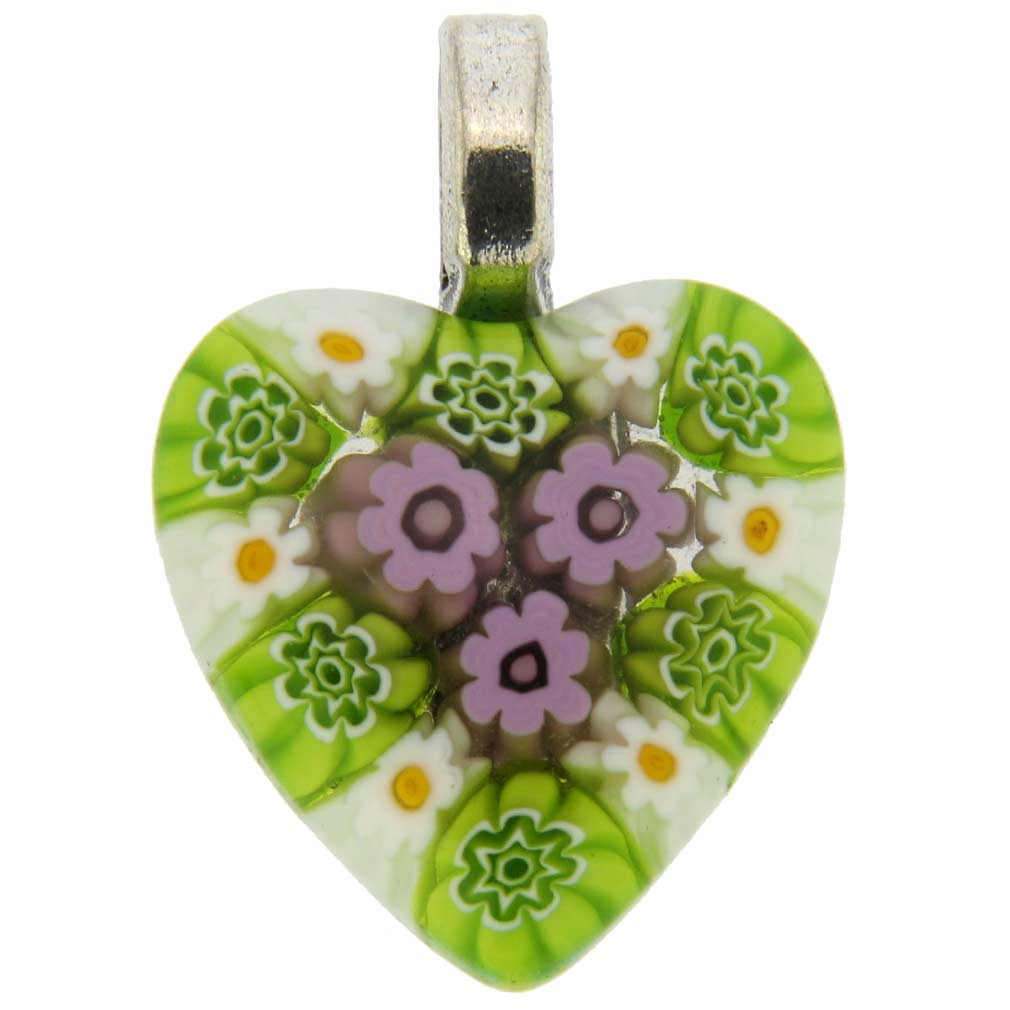 Millefiori Heart Pendant Medium - Green Meadow