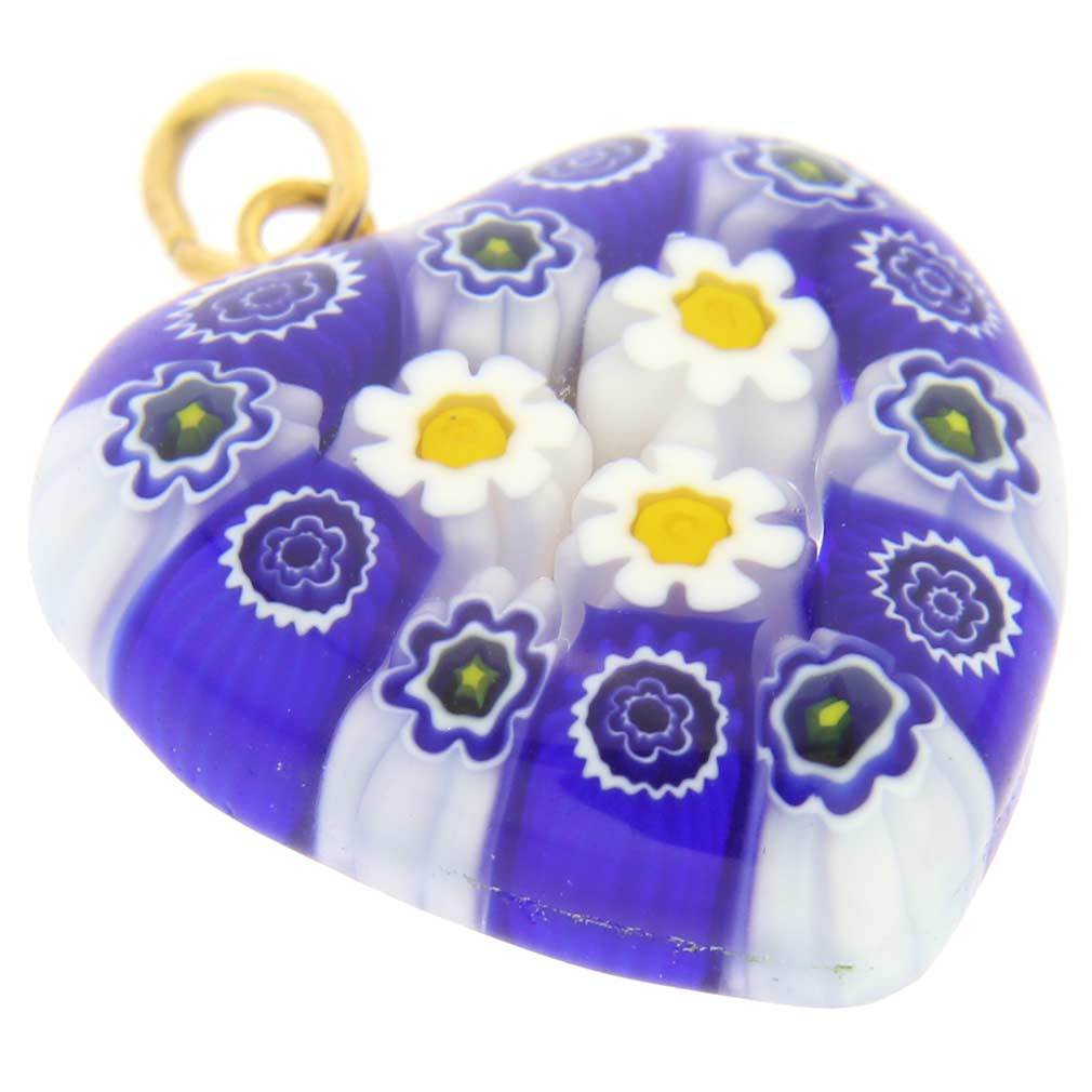Millefiori Heart Pendant Medium - Blue Daisies