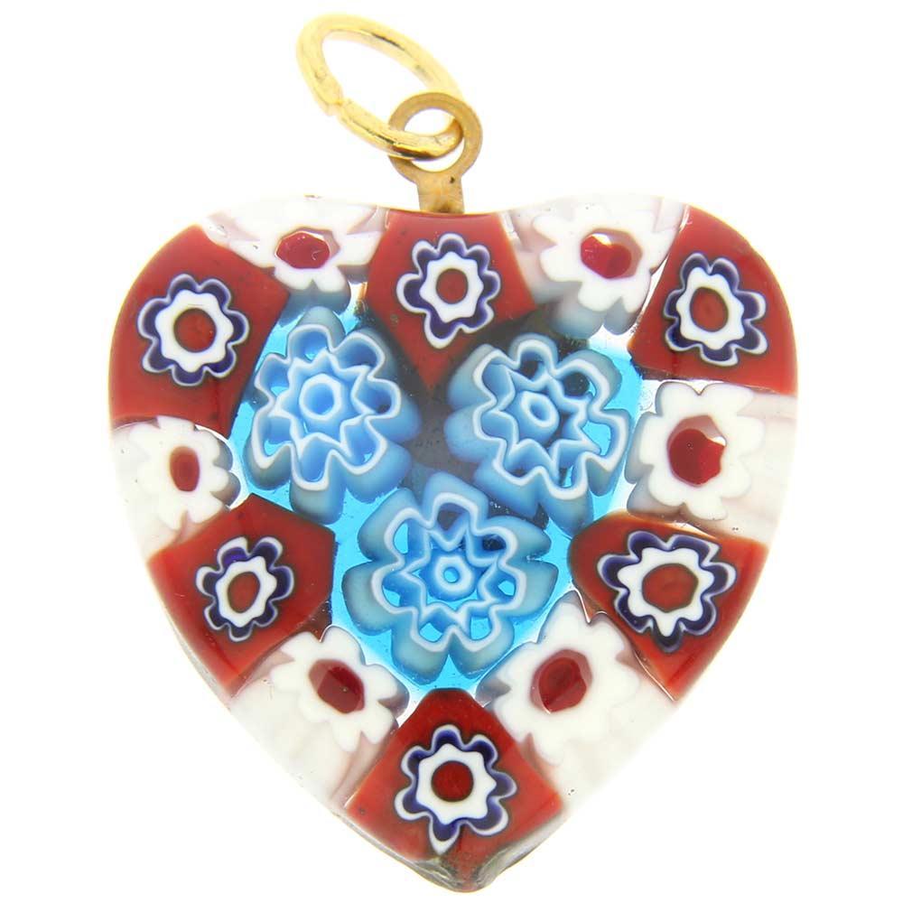 Millefiori Heart Pendant Medium - Red and Blue