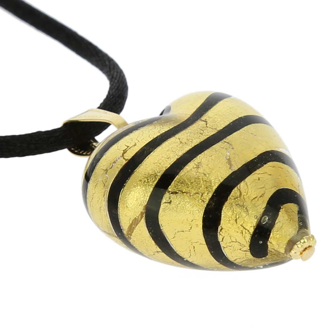 Murano Heart Pendant - Striped Gold