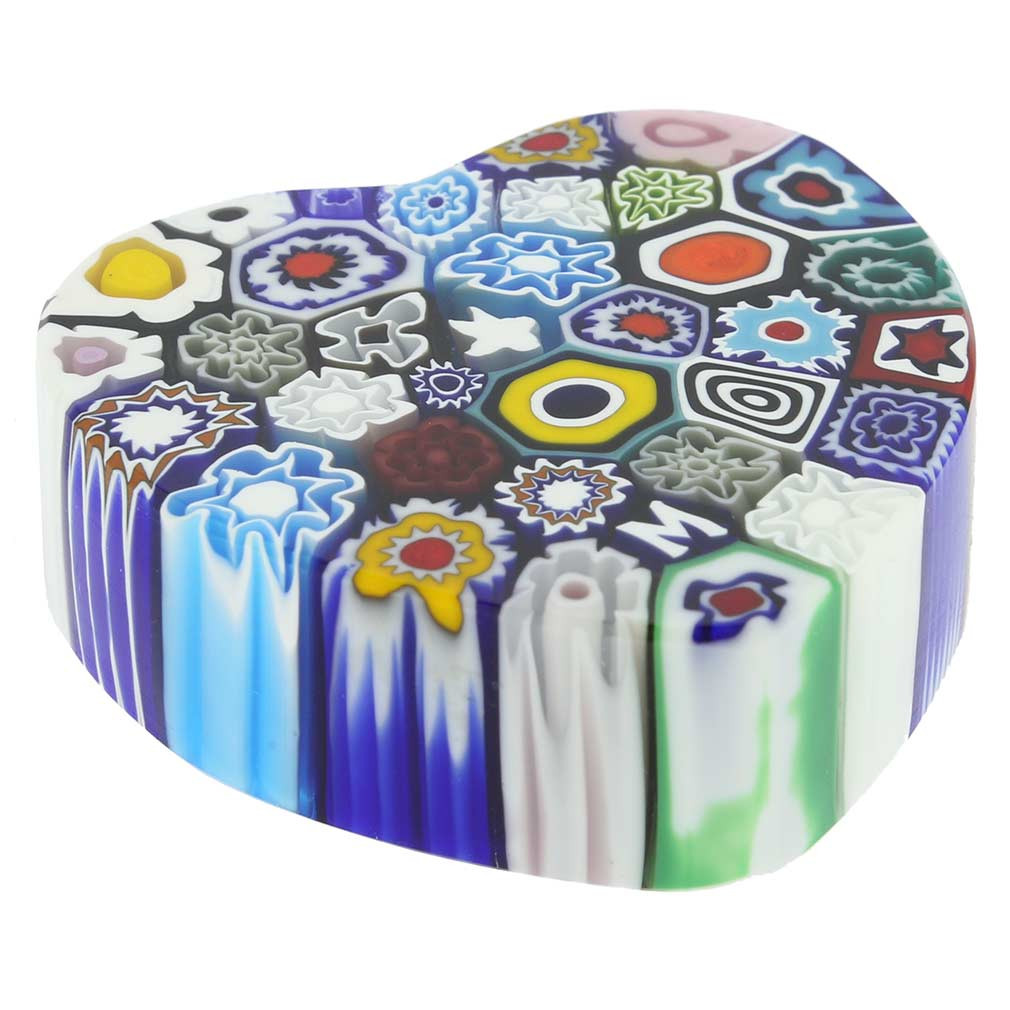 Murano Millefiori Heart Paperweight - Medium