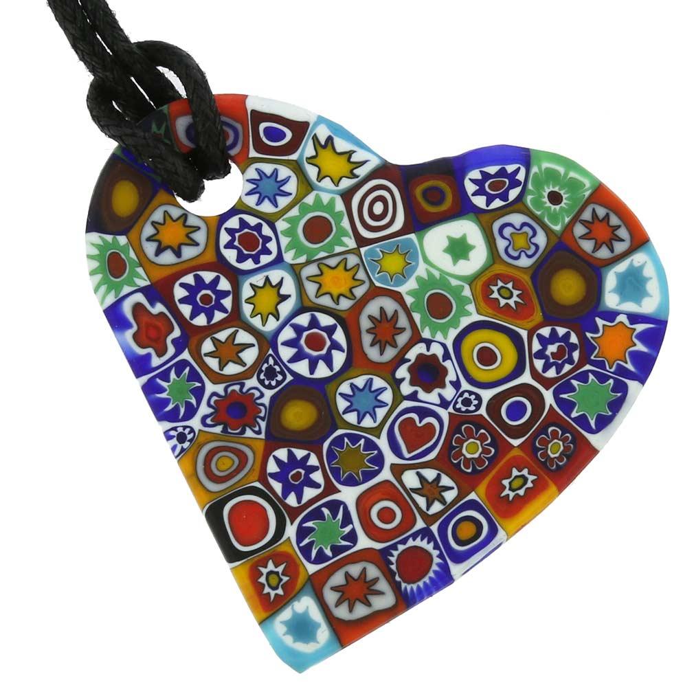 Matte Millefiori Heart Necklace - Multicolor