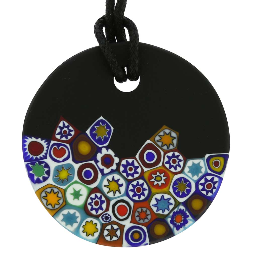 Matte Millefiori Round Necklace - Black