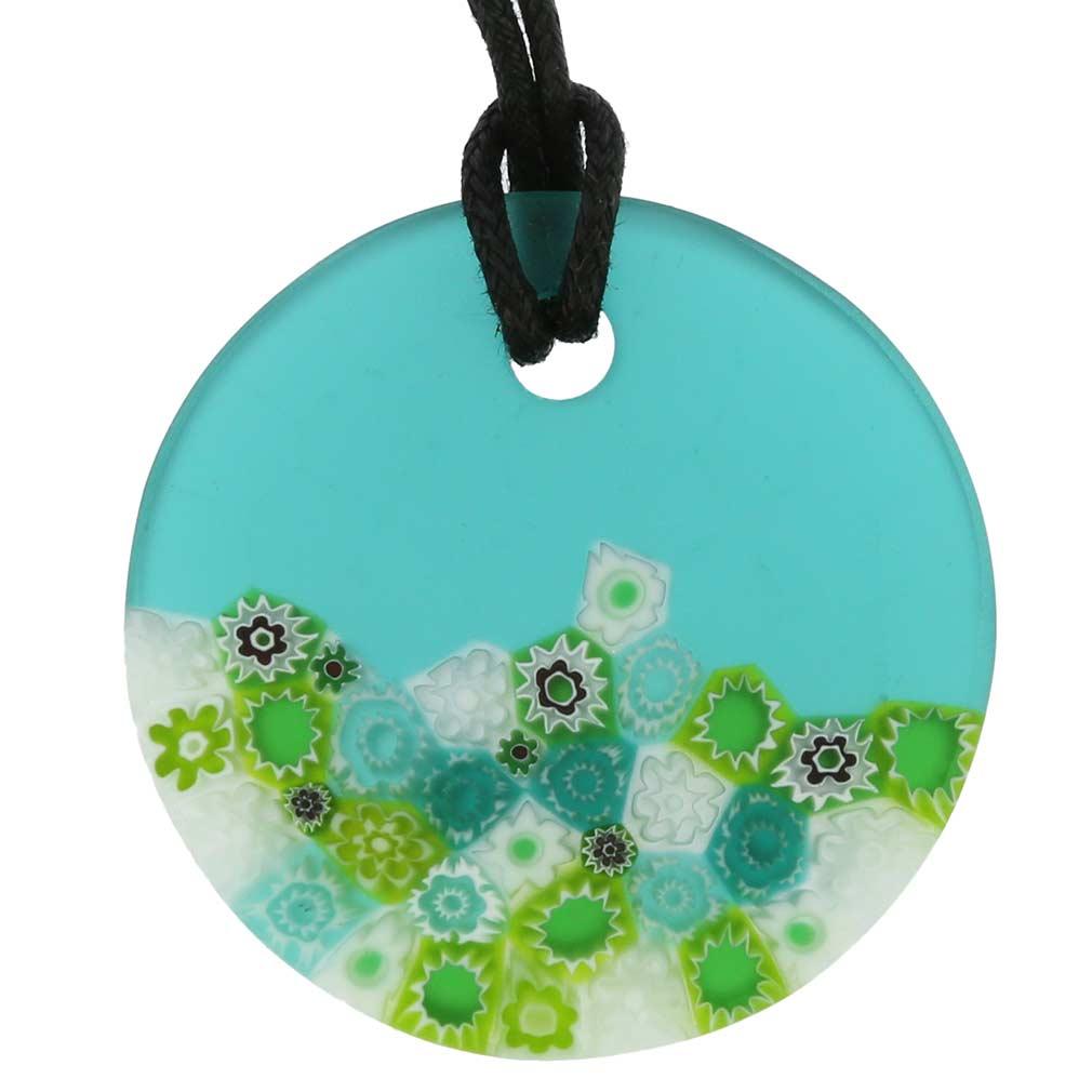 Matte Millefiori Round Necklace - Green