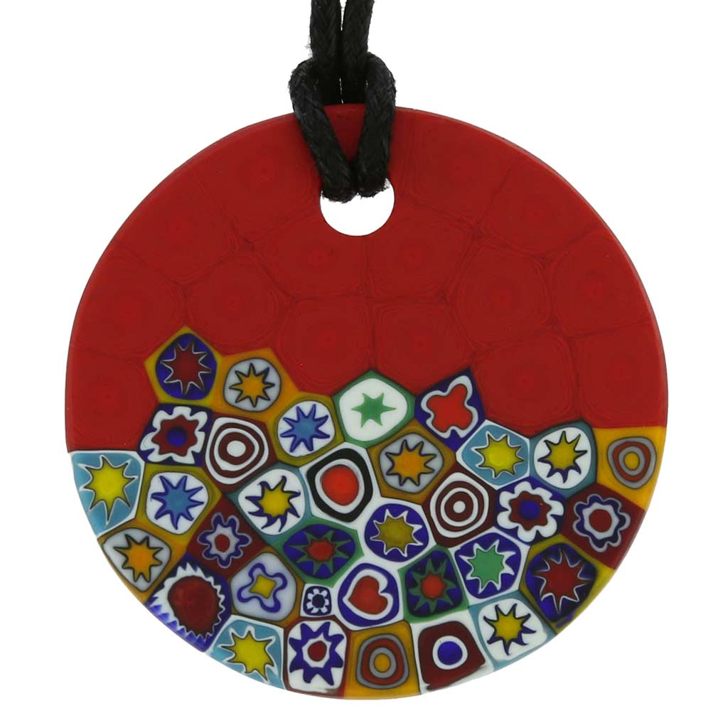 Matte Millefiori Round Necklace - Red
