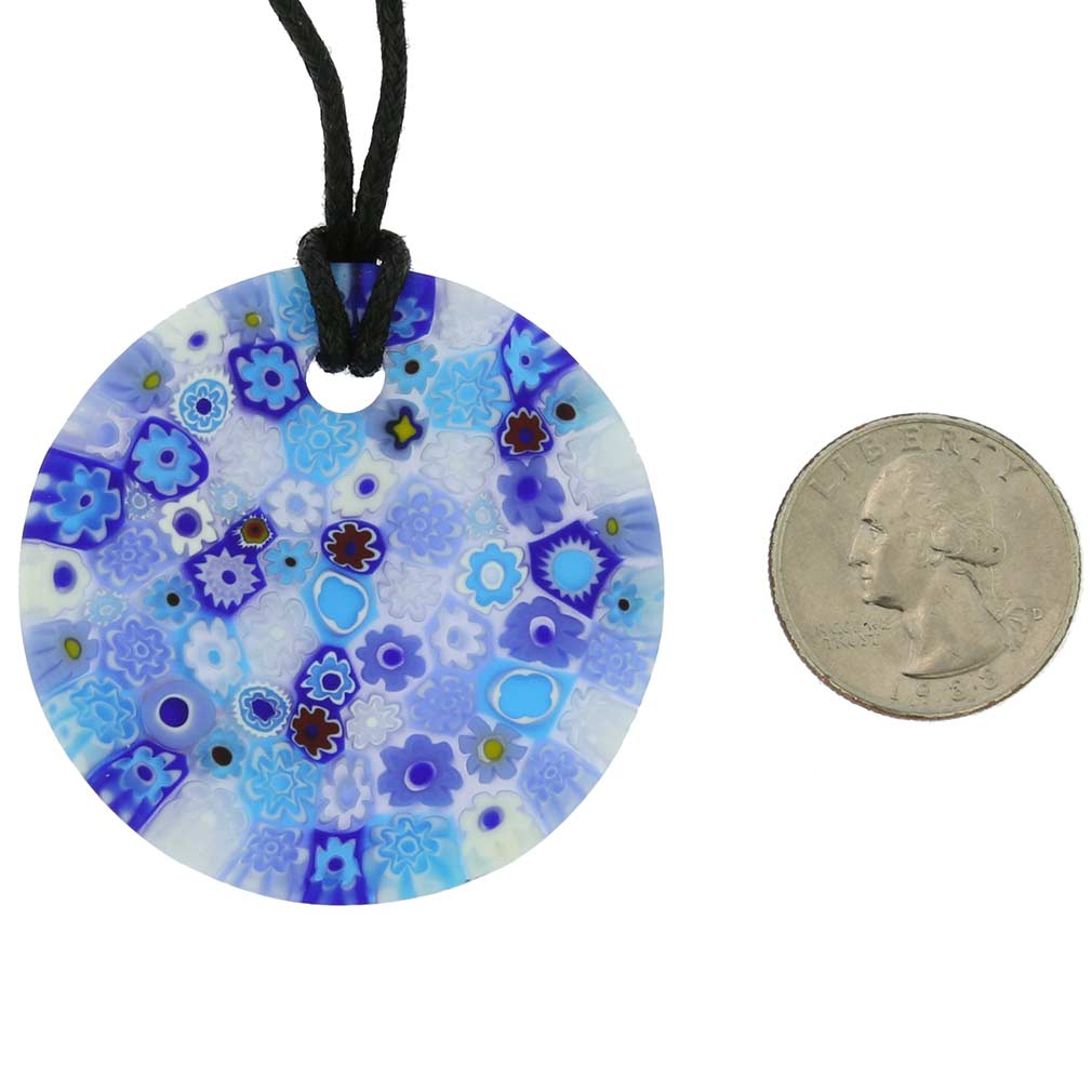 Matte Millefiori Round Necklace - Blue