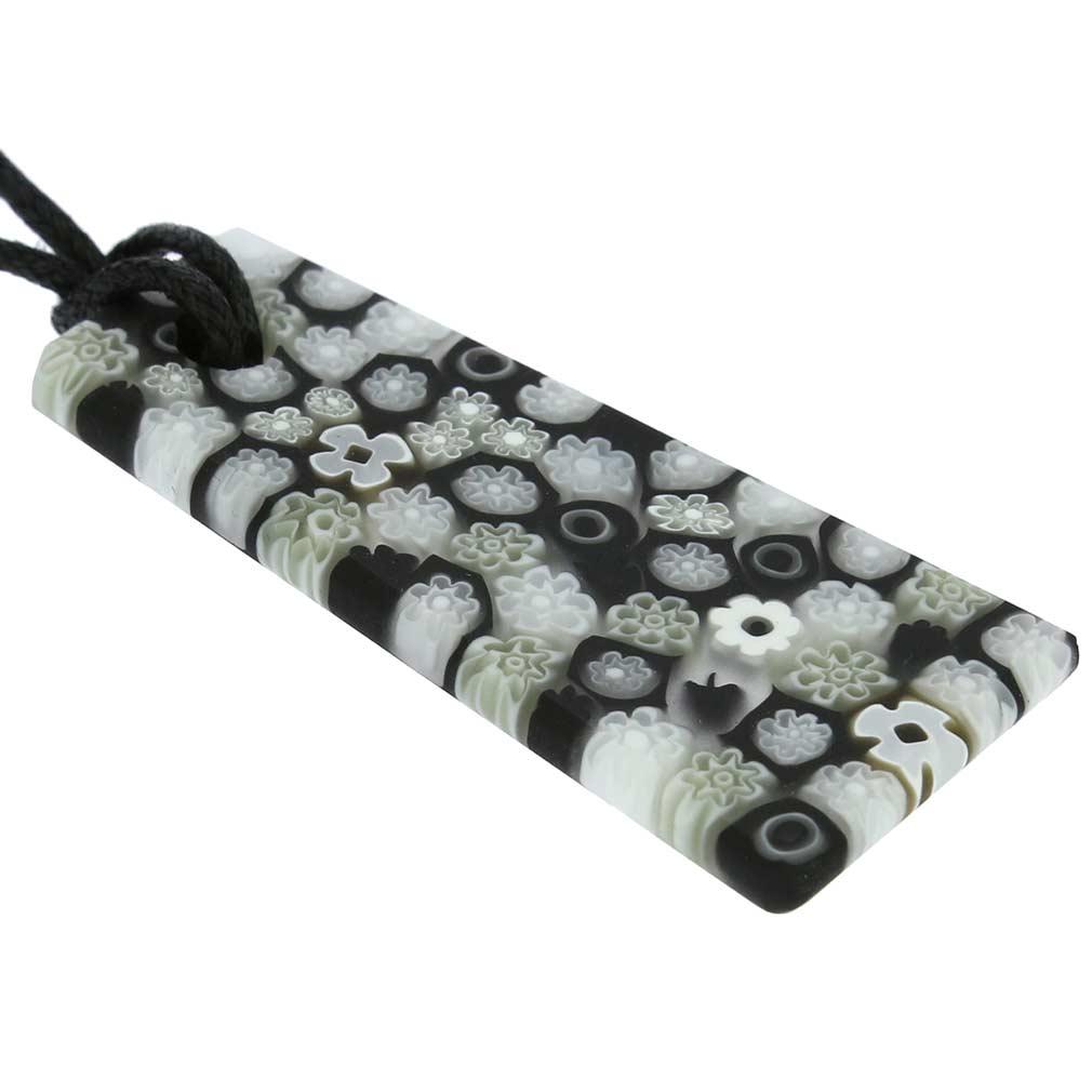 Matte Millefiori Necklace - Black and White